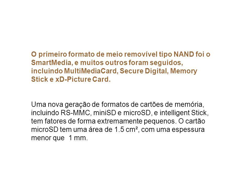 O primeiro formato de meio removível tipo NAND foi o SmartMedia, e muitos outros foram seguidos, incluindo MultiMediaCard, Secure Digital, Memory Stic
