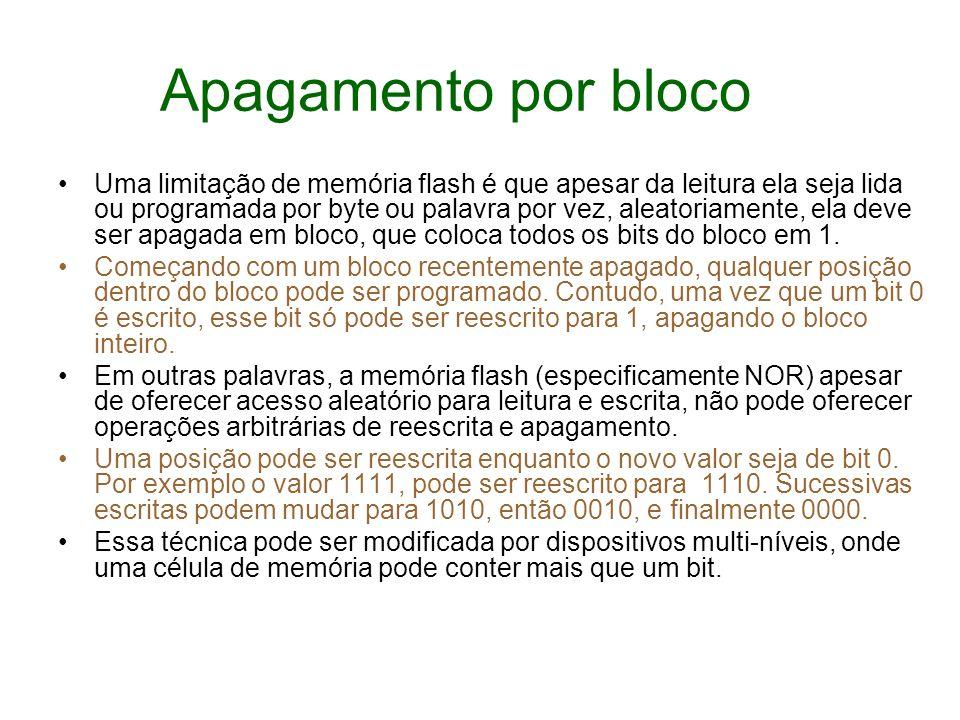 Apagamento por bloco Uma limitação de memória flash é que apesar da leitura ela seja lida ou programada por byte ou palavra por vez, aleatoriamente, e