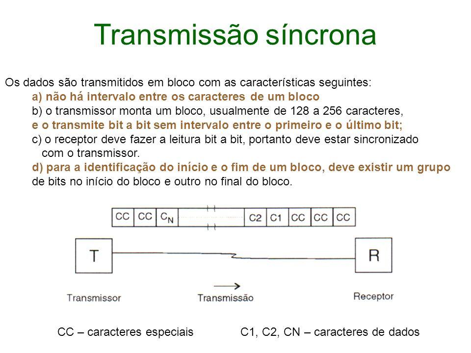Transmissão síncrona Os dados são transmitidos em bloco com as características seguintes: a) não há intervalo entre os caracteres de um bloco b) o tra