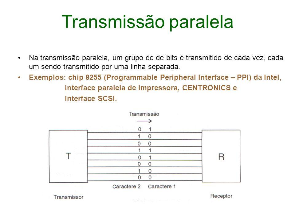 Transmissão paralela Na transmissão paralela, um grupo de de bits é transmitido de cada vez, cada um sendo transmitido por uma linha separada. Exemplo