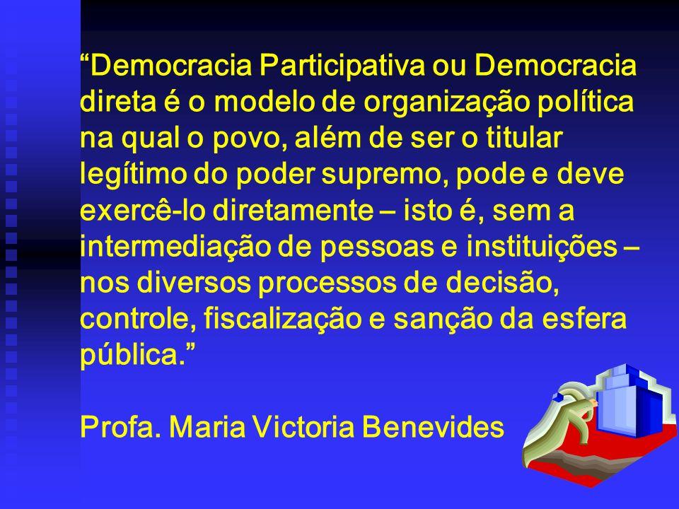 Democracia Participativa ou Democracia direta é o modelo de organização política na qual o povo, além de ser o titular legítimo do poder supremo, pode