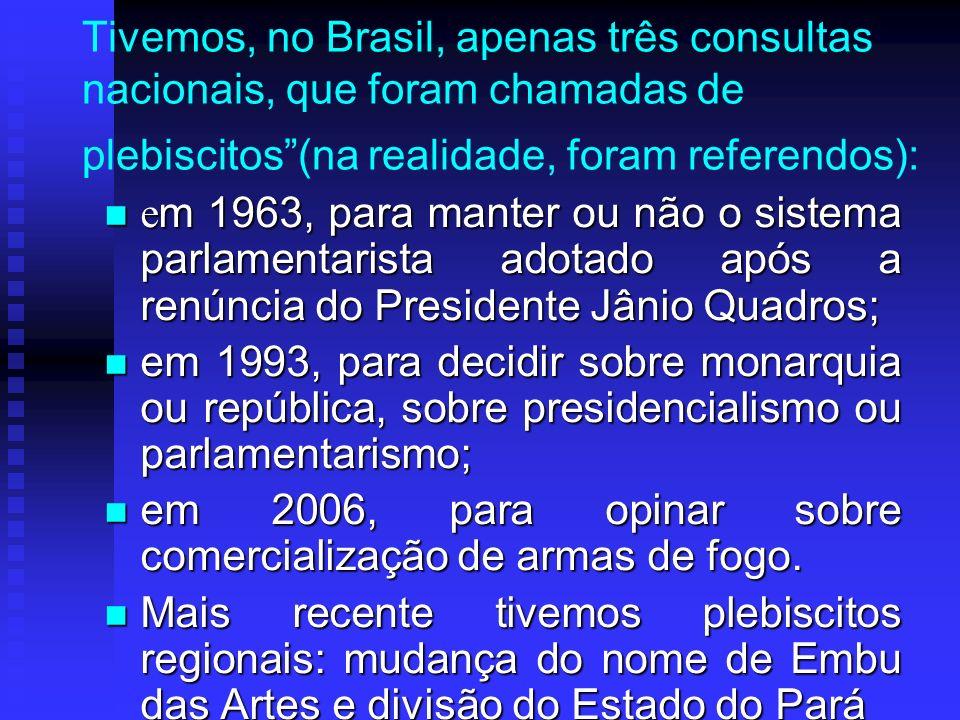 Tivemos, no Brasil, apenas três consultas nacionais, que foram chamadas de plebiscitos(na realidade, foram referendos): e m 1963, para manter ou não o