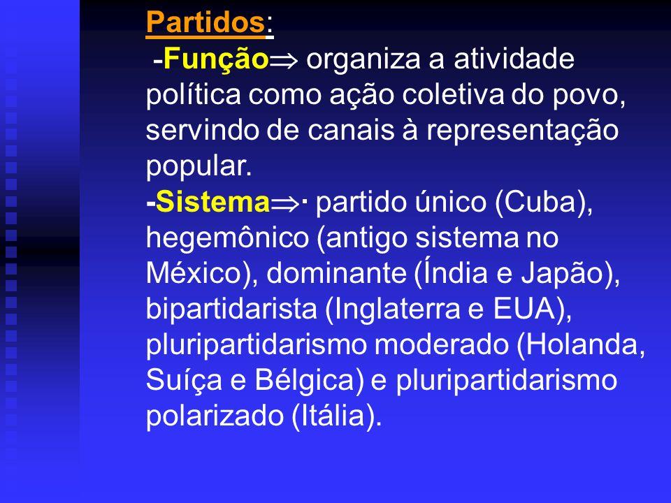 Partidos: - Função organiza a atividade política como ação coletiva do povo, servindo de canais à representação popular. -Sistema · partido único (Cub
