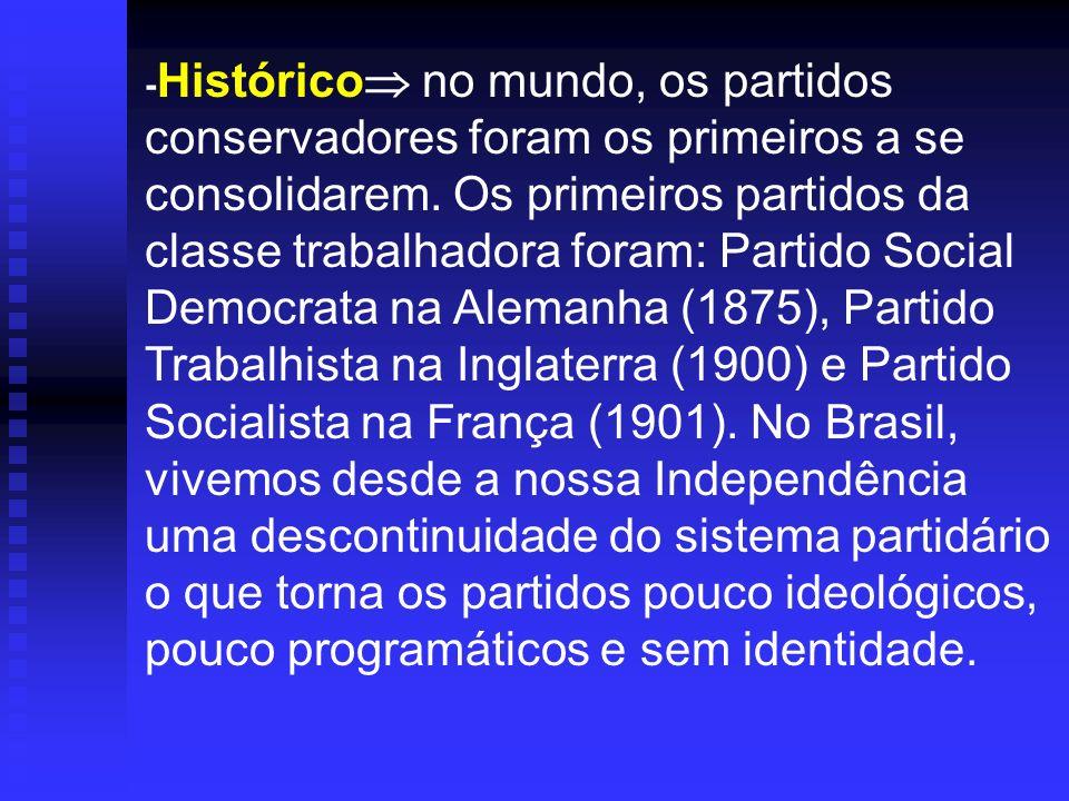 - Histórico no mundo, os partidos conservadores foram os primeiros a se consolidarem. Os primeiros partidos da classe trabalhadora foram: Partido Soci