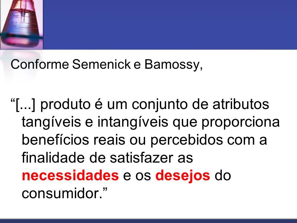 Conforme Semenick e Bamossy, [...] produto é um conjunto de atributos tangíveis e intangíveis que proporciona benefícios reais ou percebidos com a fin