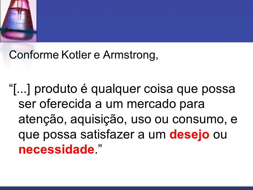 Conforme Kotler e Armstrong, [...] produto é qualquer coisa que possa ser oferecida a um mercado para atenção, aquisição, uso ou consumo, e que possa