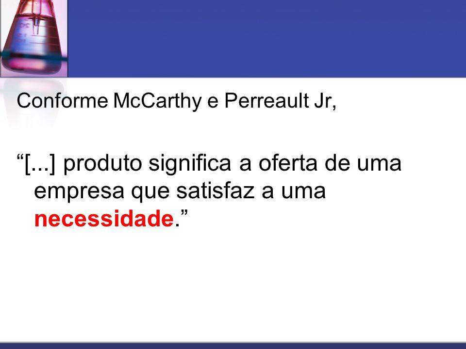 Conforme McCarthy e Perreault Jr, [...] produto significa a oferta de uma empresa que satisfaz a uma necessidade.