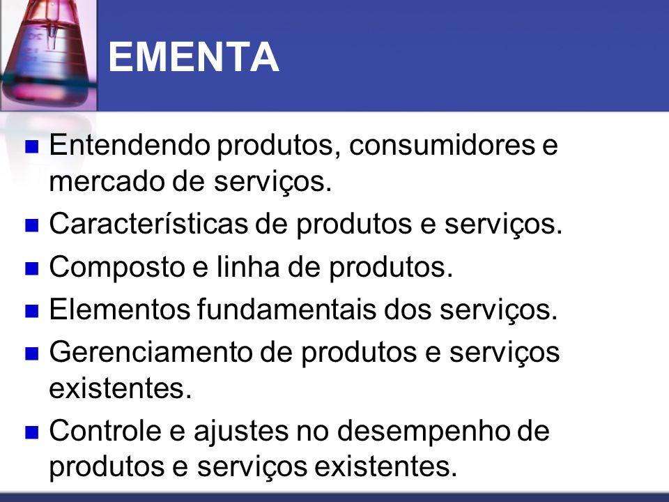 EMENTA Entendendo produtos, consumidores e mercado de serviços. Características de produtos e serviços. Composto e linha de produtos. Elementos fundam
