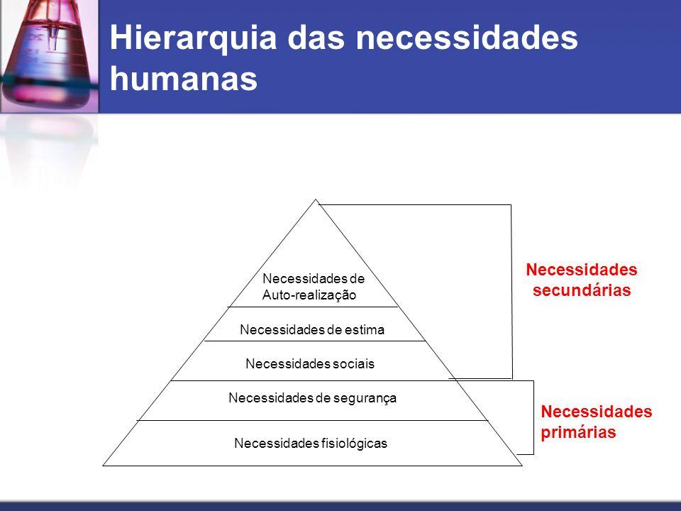 Hierarquia das necessidades humanas Necessidades de Auto-realização Necessidades de estima Necessidades sociais Necessidades de segurança Necessidades