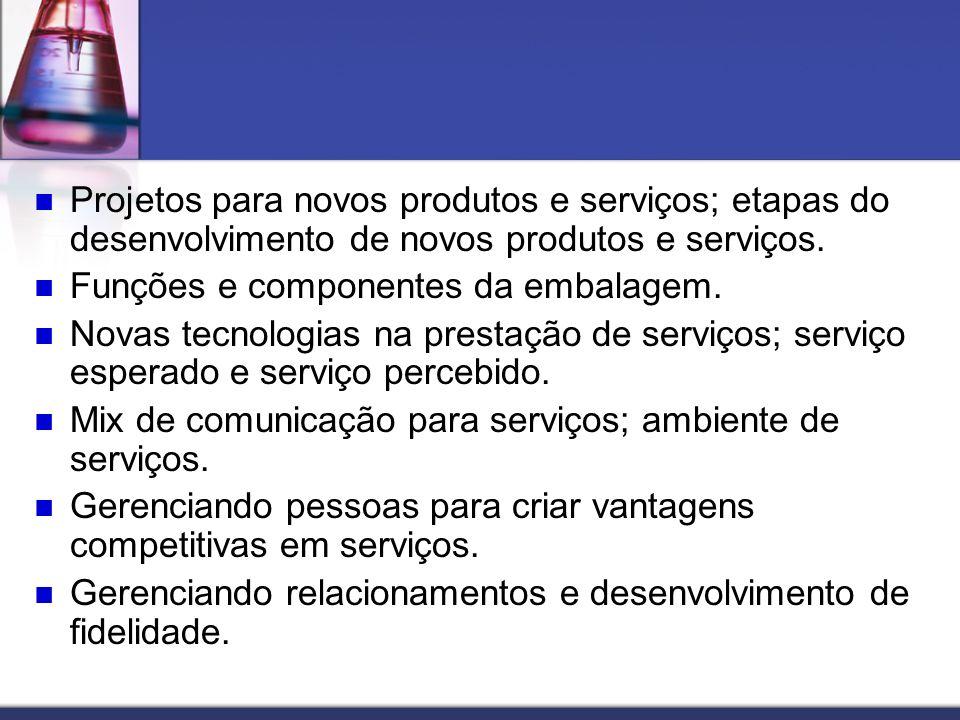 Projetos para novos produtos e serviços; etapas do desenvolvimento de novos produtos e serviços. Funções e componentes da embalagem. Novas tecnologias