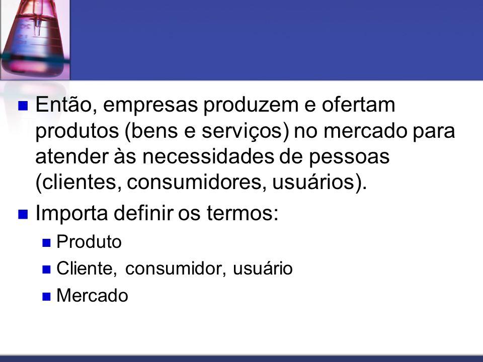 Então, empresas produzem e ofertam produtos (bens e serviços) no mercado para atender às necessidades de pessoas (clientes, consumidores, usuários). I