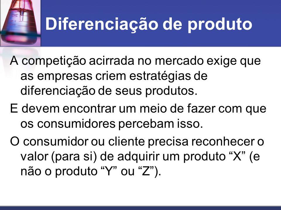 Diferenciação de produto A competição acirrada no mercado exige que as empresas criem estratégias de diferenciação de seus produtos. E devem encontrar