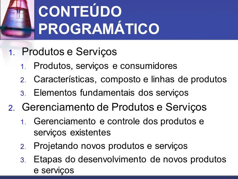 CONTEÚDO PROGRAMÁTICO 1. Produtos e Serviços 1. Produtos, serviços e consumidores 2. Características, composto e linhas de produtos 3. Elementos funda
