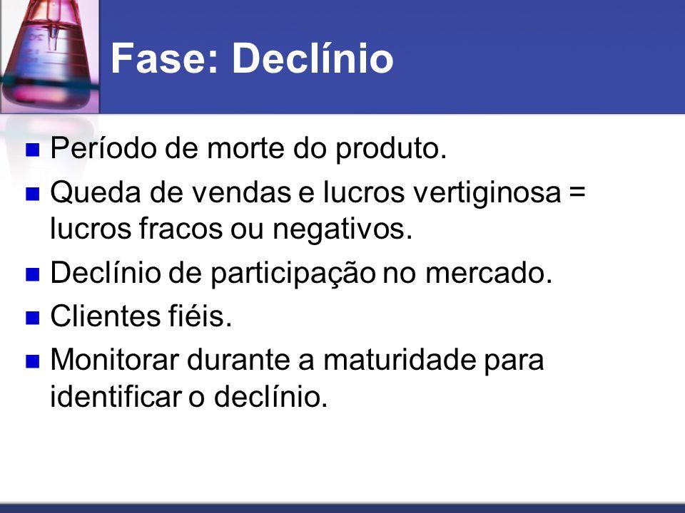 Fase: Declínio Período de morte do produto. Queda de vendas e lucros vertiginosa = lucros fracos ou negativos. Declínio de participação no mercado. Cl