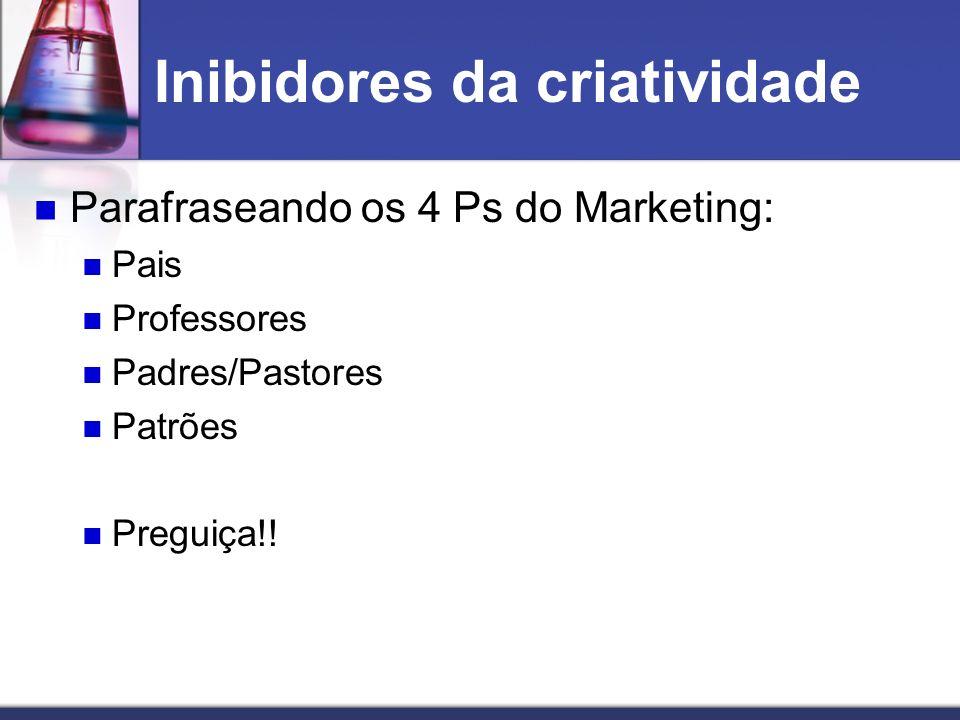 Inibidores da criatividade Parafraseando os 4 Ps do Marketing: Pais Professores Padres/Pastores Patrões Preguiça!!
