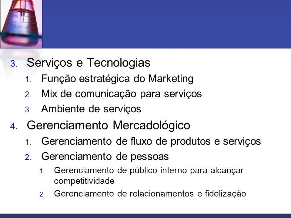 3. Serviços e Tecnologias 1. Função estratégica do Marketing 2. Mix de comunicação para serviços 3. Ambiente de serviços 4. Gerenciamento Mercadológic