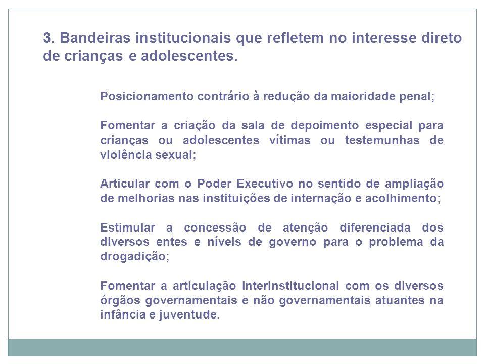 Recife, 21/11/12 3. Bandeiras institucionais que refletem no interesse direto de crianças e adolescentes. Posicionamento contrário à redução da maiori
