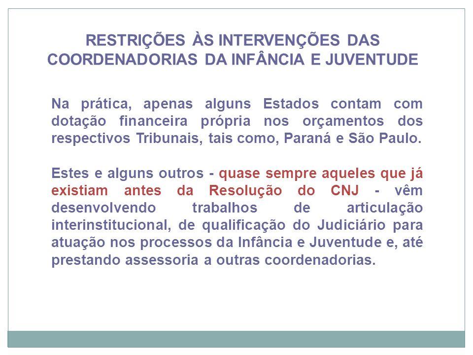 Na prática, apenas alguns Estados contam com dotação financeira própria nos orçamentos dos respectivos Tribunais, tais como, Paraná e São Paulo. Estes
