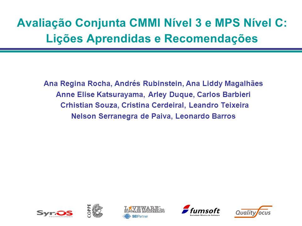 Avaliações Conjuntas CMMI/MPS Nova modalidade de avaliação Uma única avaliação com 2 resultados: Nível MPS Nível CMMI Liderada por um avaliador líder MPS e um lead appraiser CMMI 1ª.