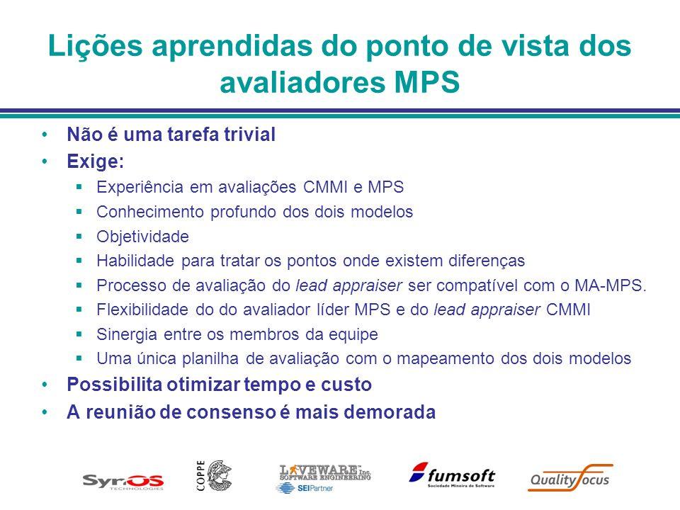 Lições aprendidas do ponto de vista dos avaliadores MPS Não é uma tarefa trivial Exige: Experiência em avaliações CMMI e MPS Conhecimento profundo dos