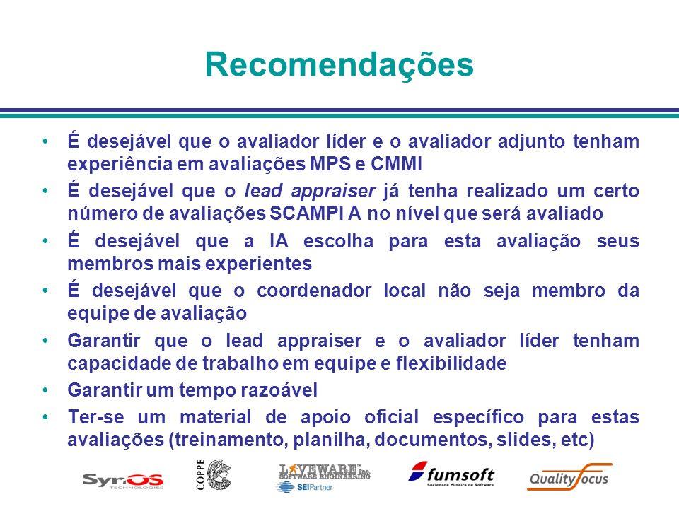 Recomendações É desejável que o avaliador líder e o avaliador adjunto tenham experiência em avaliações MPS e CMMI É desejável que o lead appraiser já
