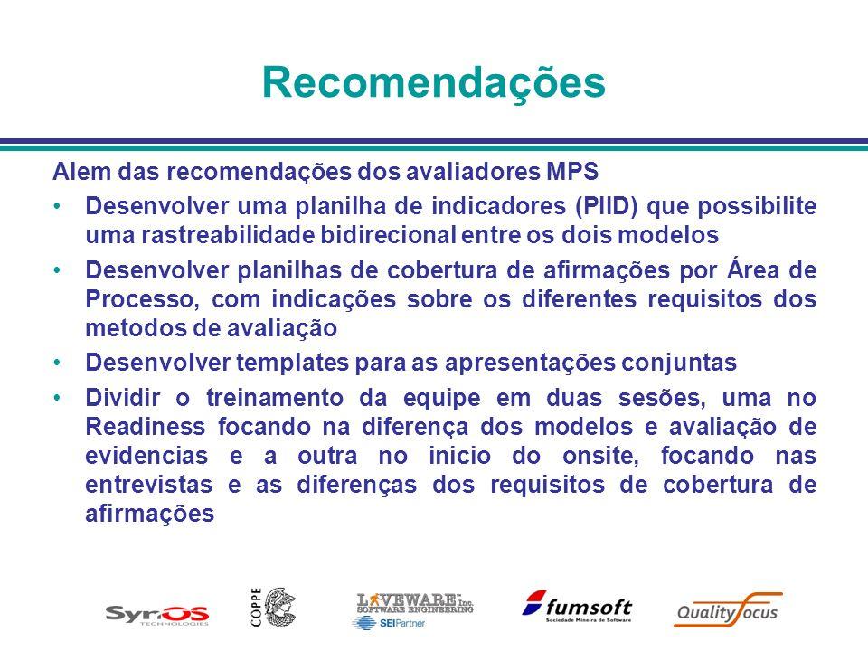 Recomendações Alem das recomendações dos avaliadores MPS Desenvolver uma planilha de indicadores (PIID) que possibilite uma rastreabilidade bidirecion