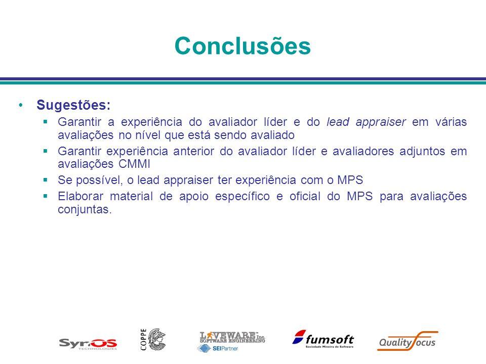 Conclusões Sugestões: Garantir a experiência do avaliador líder e do lead appraiser em várias avaliações no nível que está sendo avaliado Garantir exp