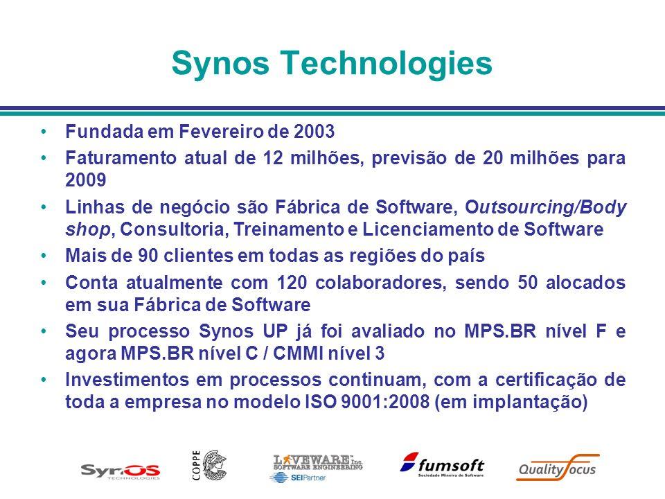 Synos Technologies Fundada em Fevereiro de 2003 Faturamento atual de 12 milhões, previsão de 20 milhões para 2009 Linhas de negócio são Fábrica de Sof