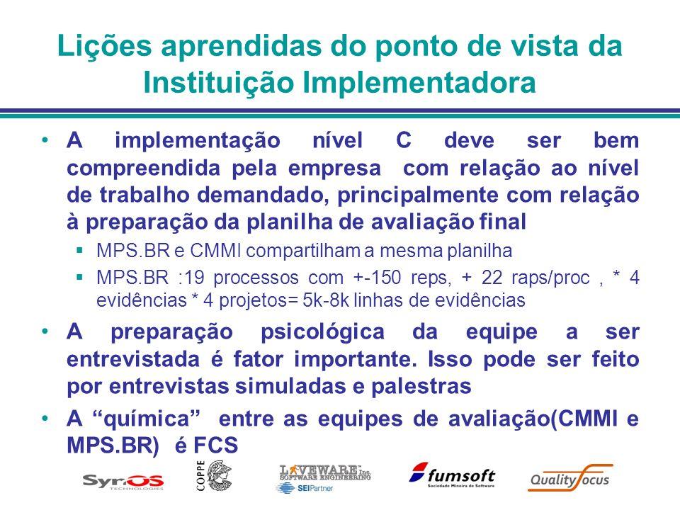 Lições aprendidas do ponto de vista da Instituição Implementadora A implementação nível C deve ser bem compreendida pela empresa com relação ao nível