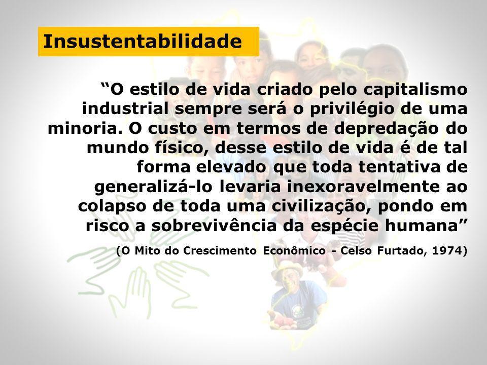 Insustentabilidade O estilo de vida criado pelo capitalismo industrial sempre será o privilégio de uma minoria. O custo em termos de depredação do mun