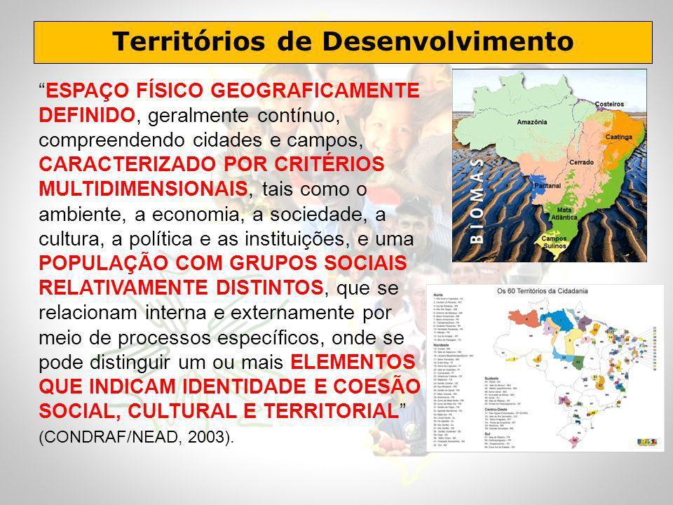 Territórios de Desenvolvimento ESPAÇO FÍSICO GEOGRAFICAMENTE DEFINIDO, geralmente contínuo, compreendendo cidades e campos, CARACTERIZADO POR CRITÉRIO