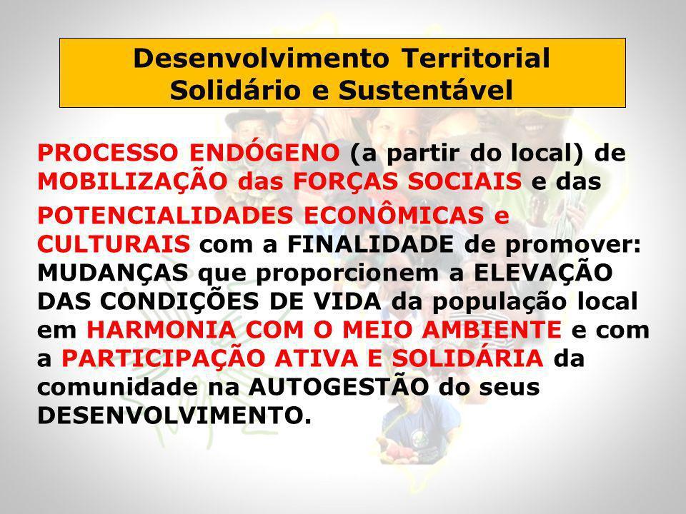 Desenvolvimento Territorial Solidário e Sustentável PROCESSO ENDÓGENO (a partir do local) de MOBILIZAÇÃO das FORÇAS SOCIAIS e das POTENCIALIDADES ECON