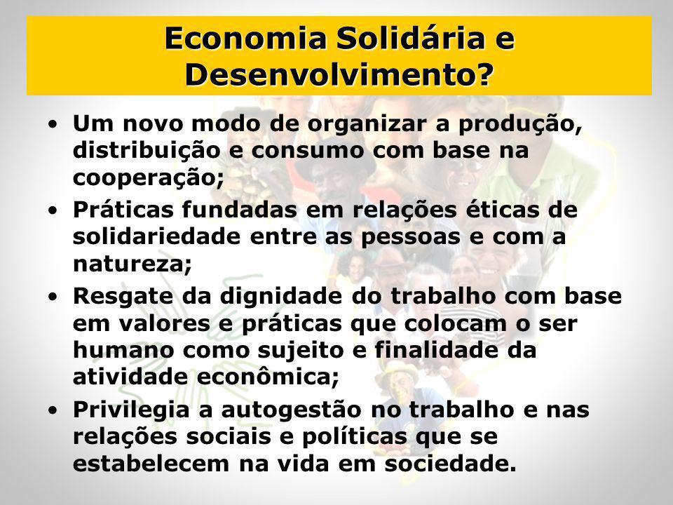 Economia Solidária e Desenvolvimento? Um novo modo de organizar a produção, distribuição e consumo com base na cooperação; Práticas fundadas em relaçõ