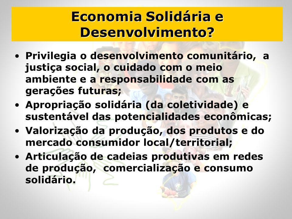 Economia Solidária e Desenvolvimento? Privilegia o desenvolvimento comunitário, a justiça social, o cuidado com o meio ambiente e a responsabilidade c