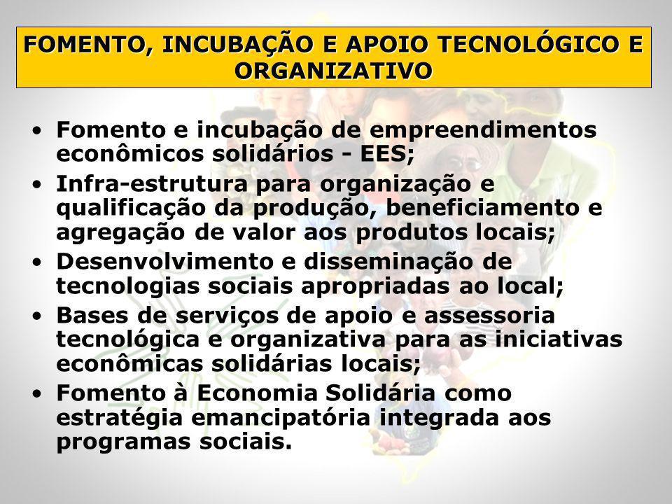 Fomento e incubação de empreendimentos econômicos solidários - EES; Infra-estrutura para organização e qualificação da produção, beneficiamento e agre