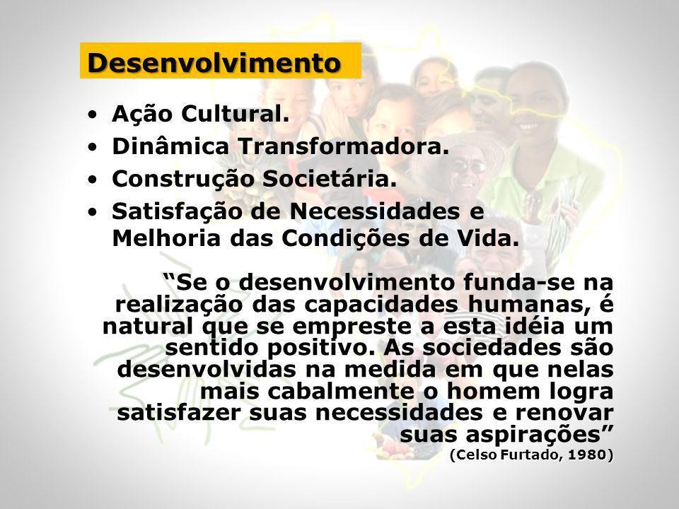 Desenvolvimento Territorial Solidário e Sustentável PROCESSO ENDÓGENO (a partir do local) de MOBILIZAÇÃO das FORÇAS SOCIAIS e das POTENCIALIDADES ECONÔMICAS e CULTURAIS com a FINALIDADE de promover: MUDANÇAS que proporcionem a ELEVAÇÃO DAS CONDIÇÕES DE VIDA da população local em HARMONIA COM O MEIO AMBIENTE e com a PARTICIPAÇÃO ATIVA E SOLIDÁRIA da comunidade na AUTOGESTÃO do seus DESENVOLVIMENTO.