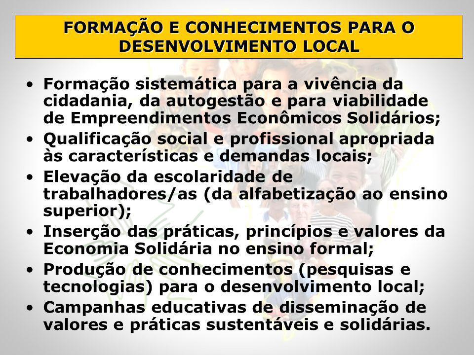 Formação sistemática para a vivência da cidadania, da autogestão e para viabilidade de Empreendimentos Econômicos Solidários; Qualificação social e pr