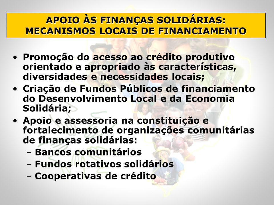 Promoção do acesso ao crédito produtivo orientado e apropriado às características, diversidades e necessidades locais; Criação de Fundos Públicos de f