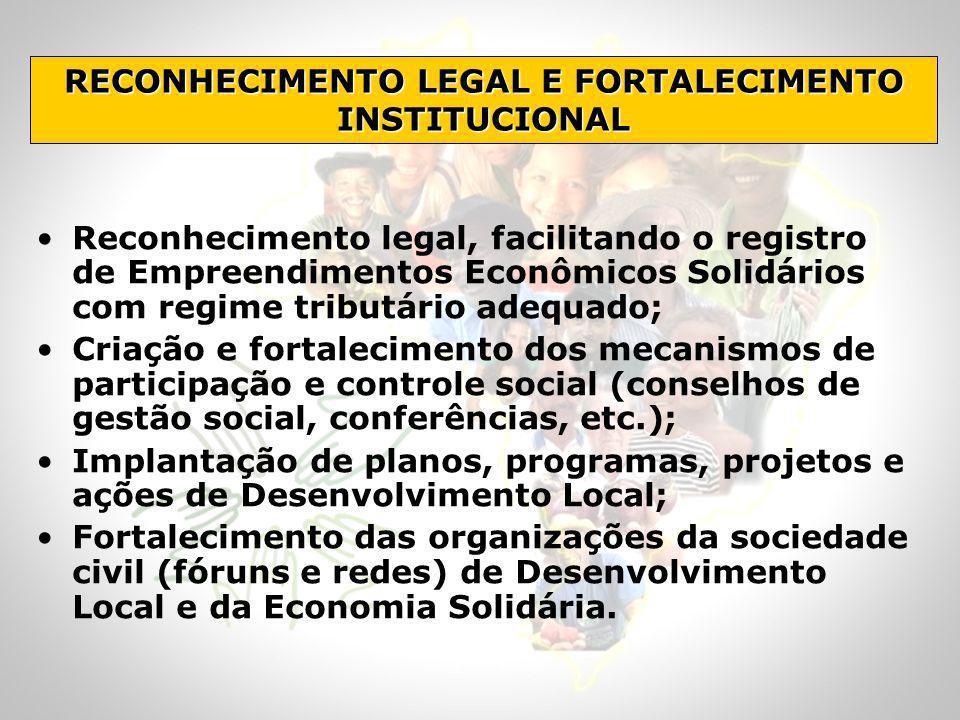 Reconhecimento legal, facilitando o registro de Empreendimentos Econômicos Solidários com regime tributário adequado; Criação e fortalecimento dos mec