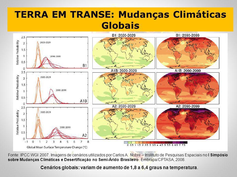 Fonte: IPCC WGI 2007. Imagens de cenários utilizados por Carlos A. Nobre – Instituto de Pesquisas Espaciais no I Simpósio sobre Mudanças Climáticas e