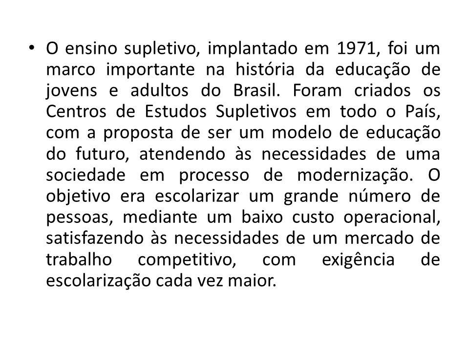 O ensino supletivo, implantado em 1971, foi um marco importante na história da educação de jovens e adultos do Brasil. Foram criados os Centros de Est