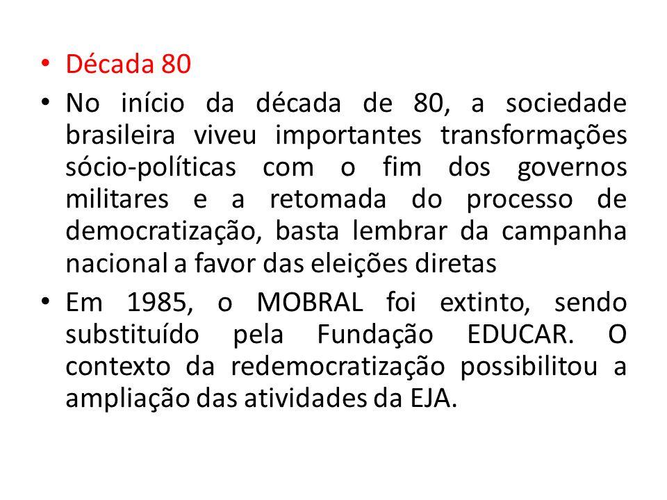 Década 80 No início da década de 80, a sociedade brasileira viveu importantes transformações sócio-políticas com o fim dos governos militares e a reto