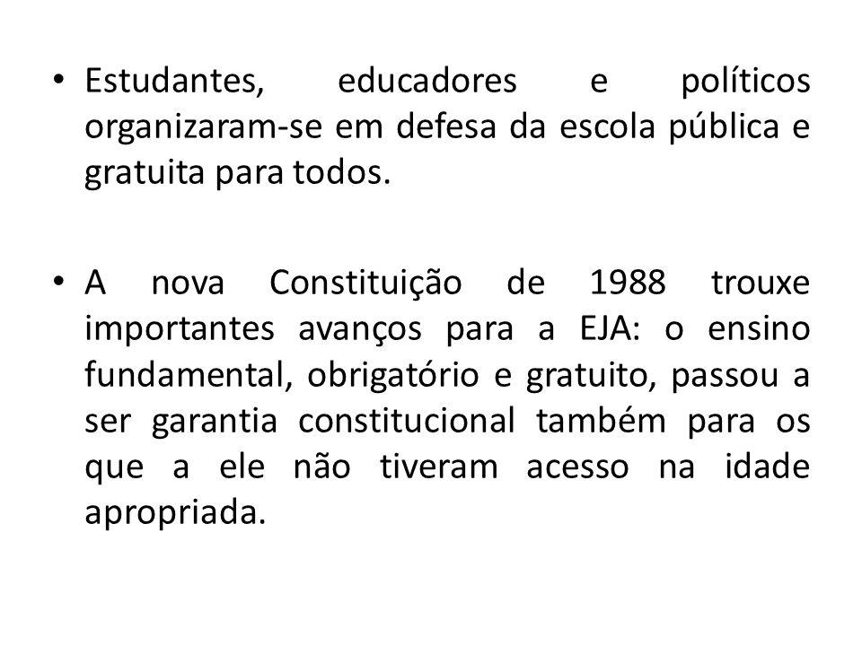 Estudantes, educadores e políticos organizaram-se em defesa da escola pública e gratuita para todos. A nova Constituição de 1988 trouxe importantes av