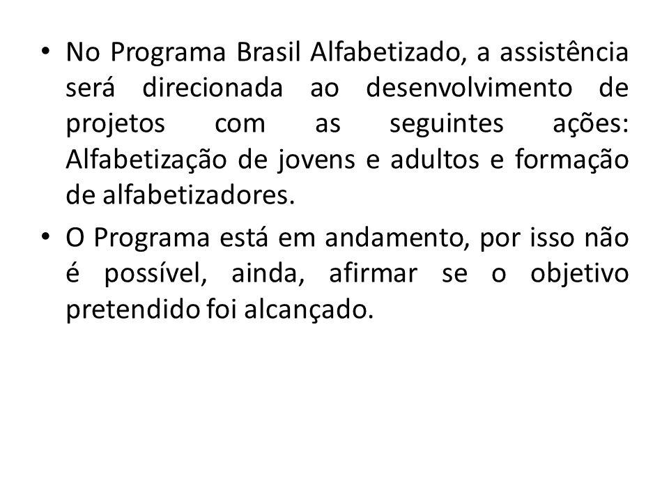 No Programa Brasil Alfabetizado, a assistência será direcionada ao desenvolvimento de projetos com as seguintes ações: Alfabetização de jovens e adult