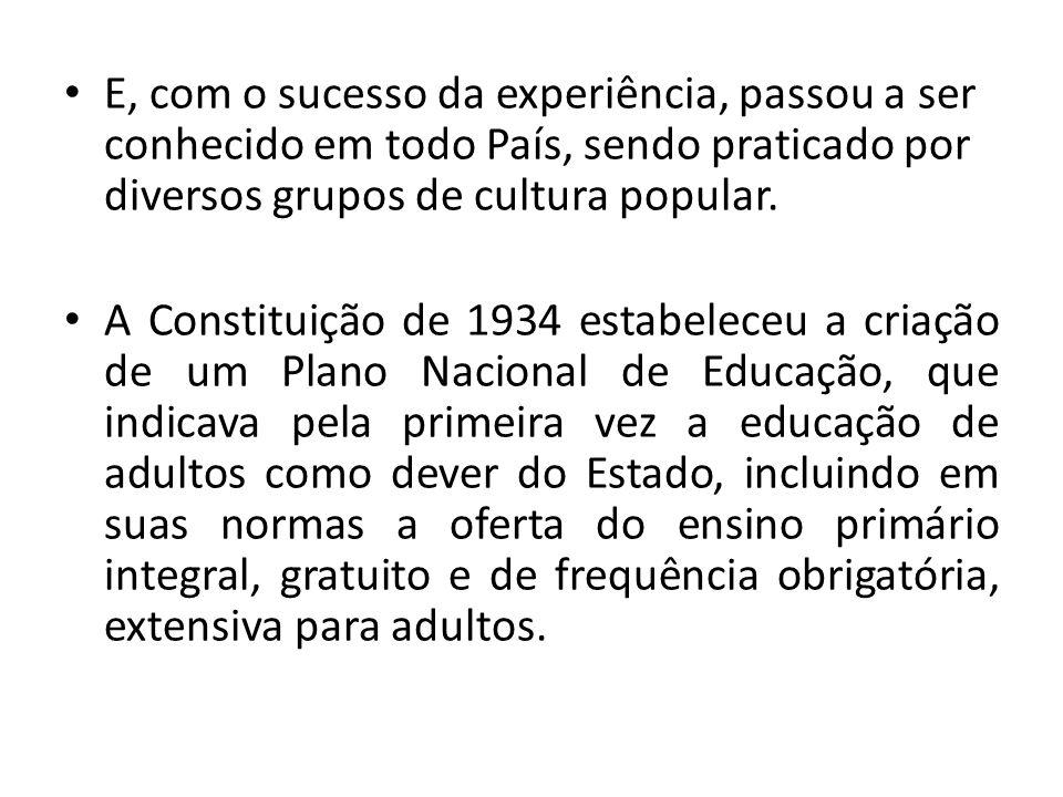 E, com o sucesso da experiência, passou a ser conhecido em todo País, sendo praticado por diversos grupos de cultura popular. A Constituição de 1934 e