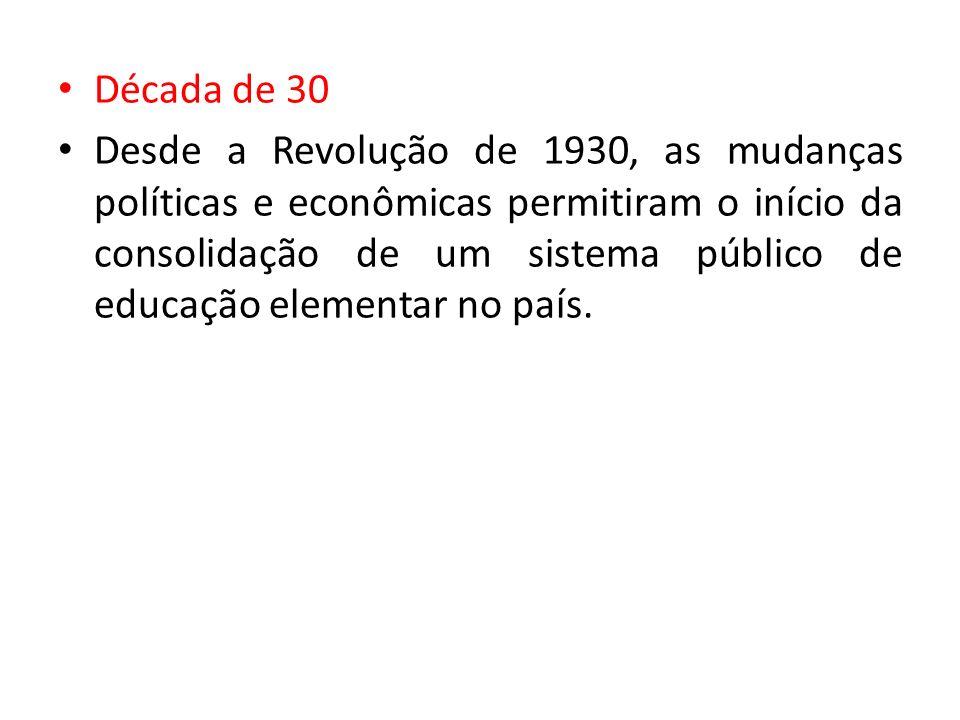 Década de 30 Desde a Revolução de 1930, as mudanças políticas e econômicas permitiram o início da consolidação de um sistema público de educação eleme