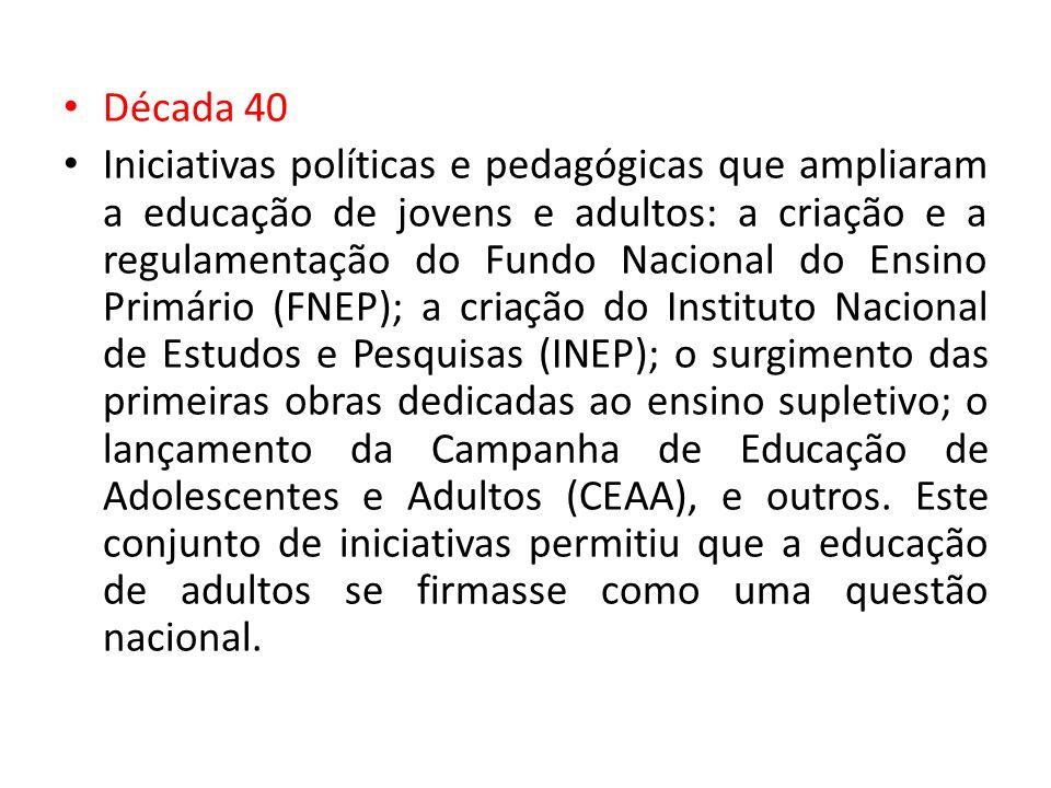 Década 40 Iniciativas políticas e pedagógicas que ampliaram a educação de jovens e adultos: a criação e a regulamentação do Fundo Nacional do Ensino P