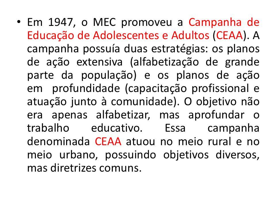 Em 1947, o MEC promoveu a Campanha de Educação de Adolescentes e Adultos (CEAA). A campanha possuía duas estratégias: os planos de ação extensiva (alf