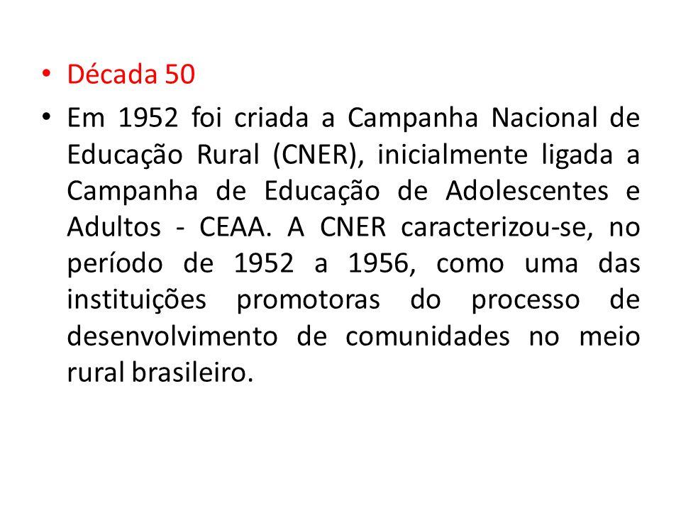 Década 50 Em 1952 foi criada a Campanha Nacional de Educação Rural (CNER), inicialmente ligada a Campanha de Educação de Adolescentes e Adultos - CEAA