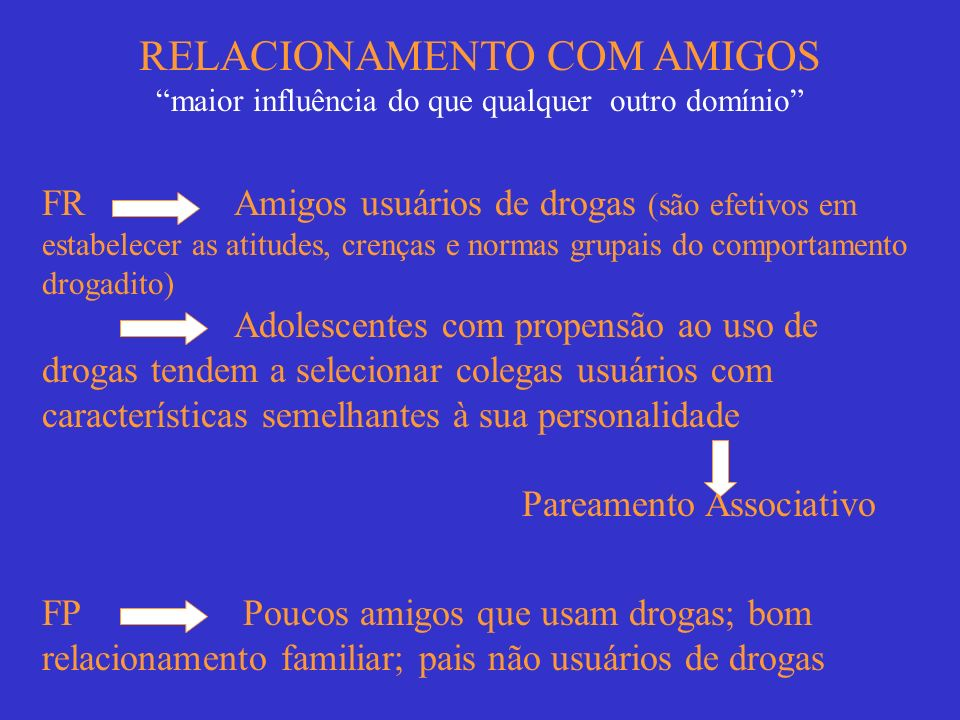 RELACIONAMENTO COM AMIGOS maior influência do que qualquer outro domínio FR Amigos usuários de drogas (são efetivos em estabelecer as atitudes, crença